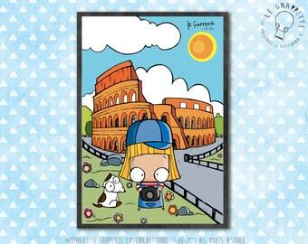 Print Rome Colosseo Turist