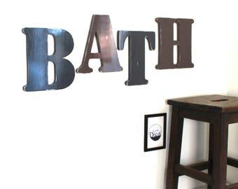 Mot en bois BATH - mot géant - lettres en bois - personnalisé - mylittledecor