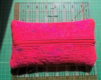 Nuno felted zipper pouch