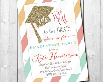 """Graduation Party Invitation printable...""""Hats Off""""/DIGITAL FILE/girl, gold, glitter, senior, class of 2018/Wording & Colors can be changed"""