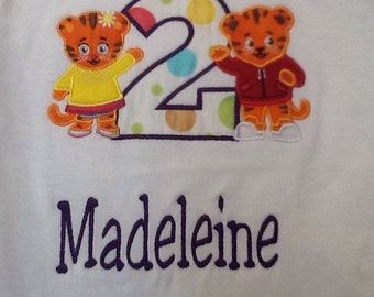 Daniel the tiger biirthday shirts