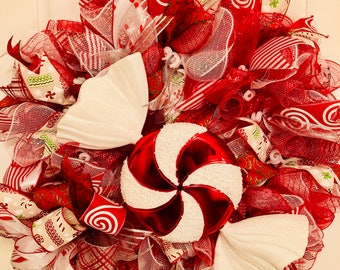 XL Premium Peppermint Wreath, Holiday Decor, Red & White, Christmas Wreath, Christmas Decorations, Peppermint, Candy Wreath, DecoMesh Wreath