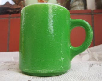 Green Textured Mug Vintage 1960's Fire King Anchor Hocking Mid Century Coffee Tea Mug Replacement Bright Lime Serving Dining Collectible