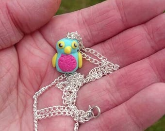 Polymer clay miniature hatchimal necklace handmade ooak inspired by the Hatchimal toy
