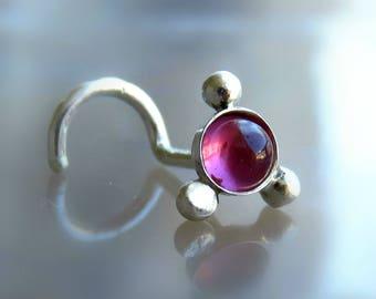 Nose Stud // Tragus Piercing // Helix Earring // Red Garnet Stone