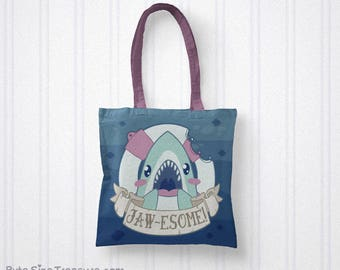 Jawesome! // Great White Shark // Printed Tote Bag // Shark Friends