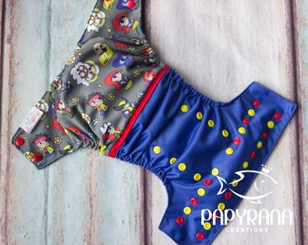 Mutant Adjustable cloth diaper with snaps / PREORDER / one-size Pocket Cloth diaper / Mutant inspired print / geek diaper / super-heros