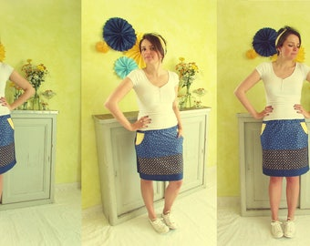 "* DESTOCK * ""Striped chickadee"" blue and yellow skirt"