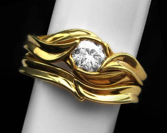 Moissanite Engagement Ring and Matching Wedding Ring Set in Solid 14k Gold: Available in Yellow Gold, Rose Gold or White Gold