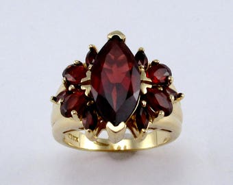 Marquise Garnet Cluster and 14kt Yellow Gold Ring