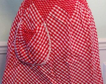 Vintage Apron Smocked Red Checks Polka Dots Kitchen