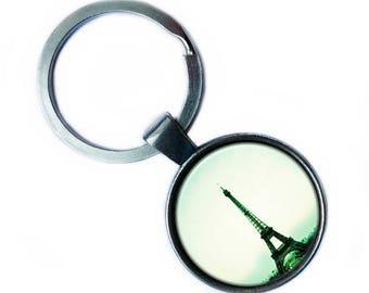 France Paris Eiffel Tower Silver Keychain Keyring