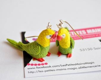 Bird Parrot green yellow feather earring