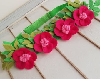 Moana inspired flower crown, Hawaiian Style flower crown, Wool Felt Flower Crown, Flower Crown, Adjustable Headband