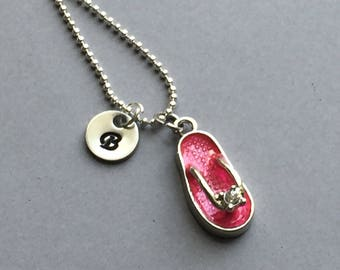 Pink Flip Flop Necklace-Beach Necklace-Vacation Jewelry