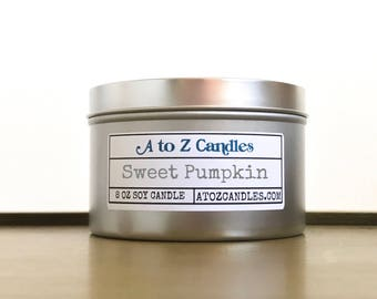 Autumn Candle, Fall Candle, Pumpkin Pie Candle, Pumpkin Scented Candle, Pumpkin Candle, Pumpkin Cinnamon Candle, Soy Candles, Tin Candles