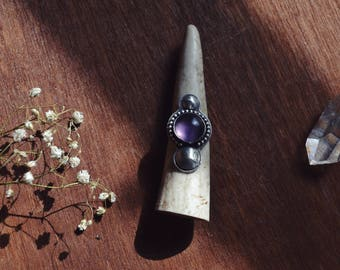 Sterling Dome Rainbow Fluorite Ring