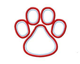 1.99 Design - OMA Digitizing Mascot Paw 2 color outline Embroidery Applique Design - Instant Download for Embroidery Machines 5 Sizes