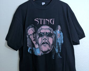Deadstock 1990s Sting Wrestler Shirt Sz XL NWO WWE Black