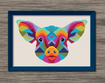 Pig Face  - PDF Cross Stitch Pattern