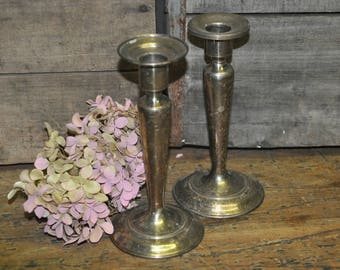 Set of 2 VINTAGE Silver Plate Candle Holders