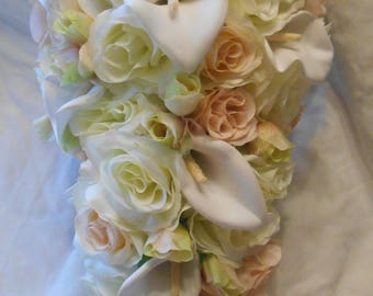 Cascading bridal bouquet  ivory with blush pink  roses and diamond white calla lilies 2 pieces free small toss
