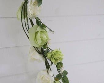 Rose, Vines and Foliage Garland - Cream