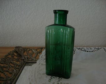 "Antique 1890's English Emerald Green ""Not To Be Taken"" Victorian POISON ribbed glass BOTTLE naturalist stem vessel lab glass flower Vase"