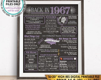 """1967 Flashback Poster, Birthday Flashback to 1967 USA History Back in 1967, Anniversary Reunion, Chalkboard Style PRINTABLE 16x20"""" Sign <ID>"""