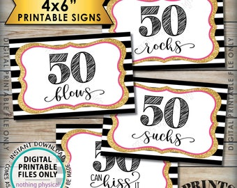 "50th Birthday Candy Signs, 50 Sucks 50 Rocks 50 Blows 50 Can Kiss It Fiftieth Candy Bar, 4 PRINTABLE Black/Pink/Gold Glitter 4x6"" Signs <ID>"