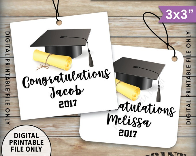 "Graduation Tags, Graduation Party Favors, Congratulations Grad Tags, Graduation Party Favors, Class Of, Printable 3x3"" Tags on 8.5x11"" Sheet"