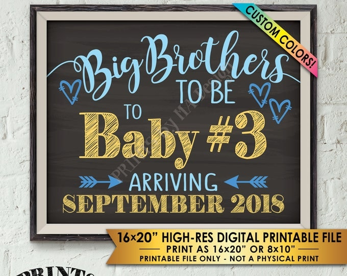 "Baby #3 Pregnancy Announcement, Big Brothers to 3rd Baby Number 3 Photo Prop, Custom Colors Chalkboard Style PRINTABLE 8x10/16x20"" Sign"