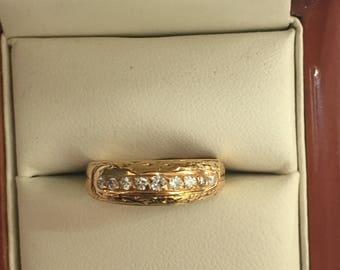 Vintage 80's 18ct Yellow Gold Diamond Eternity Ring Size O