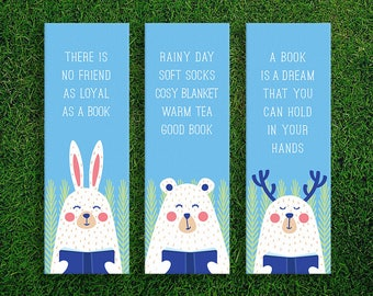 Long Bookmark | The Joy Of Reading Book Lover Quotes Bookmarks Pack of 3 Rainy Day Good Book Warm Tea Cosy Blanket Soft Socks Friend Loyal