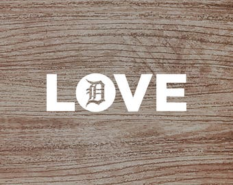 LOVE Detroit Tigers Baseball Decal