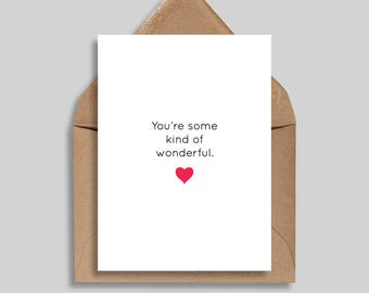 You're Some Kind of Wonderful, Valentine's Day Cards, Love Cards, Greeting Cards