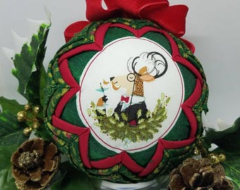 Christmas Quilted Handmade Keepsake Ornament Eat Drink & Be Merry!