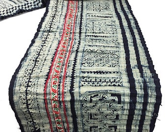 Hmong Indigo Batik Hemp fabric strip - Hill Tribe Skirt - 27 x 290 cm