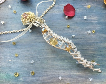 Long Necklace silvered wire cupronickel Pendant wedding jewelry Bohemian Statement Necklace Vertical bar Modern Minimalist wirewrap Hammered