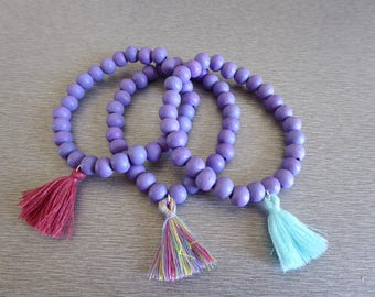 Kit 3 purple bracelets and tassel