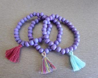 Kit 3 purple bracelets and tassel
