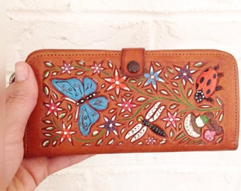 Vintage tooled leather wallet. Hippie wallet. Leather butterfly wallet. 1970's tooled leather wallet.