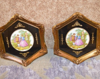 Pair of Octagon Renaissance Style Painted Plaques