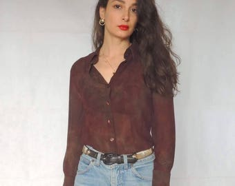 Vintage Burgundy Semi-Sheer Button Up Blouse