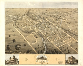 Elyria, OH Panoramic Map from 1868. This print is a wonderful wall decoration for Den, Office, Man Cave or any wall seeking a bit of decor.