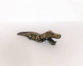 ON SALE vintage alligator brass alligator bottle opener vintage brass barware gift for him vintage brass crocodile bottle opener bar utensil