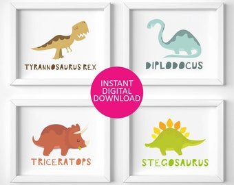 dinosaur prints, dinosaur nursery, dinosaur wall art, dinosaur theme, dinosaur bedroom decor, tyrannosaurus rex, stegosaurus, t rex