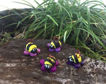 Fairy Garden Miniature Bees On Flowers