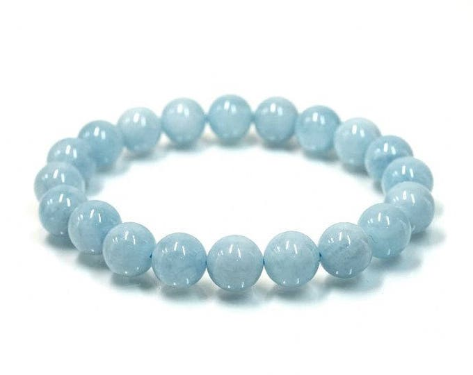 "March Birthstone Aquamarine Natural Gemstone Stretch Bracelet 7""- 7.5"" Available in 8 & 10 mm Round Beads-Pale Blue (Unisex)"