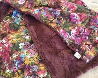 Floral Baby Blanket, Minky Stroller Baby Blanket, Baby Girl Blanket, Floral Crib Bedding,Fur Baby Blanket, Shower Gift